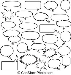 A collection of blank cartoon speech, sound and thought bubbles in various shapes and sizes.