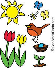 Cartoon Springtime Items and Animal