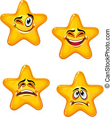 Set of glossy cartoon stars with different emotions