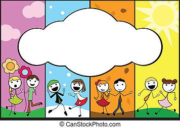 cartoon stick children background four seasons with empty banner