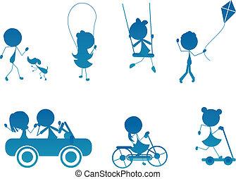 cartoon stick children silhouette active playing outdoor