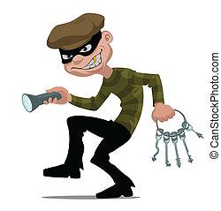 cartoon thief with flashlight and skeleton key