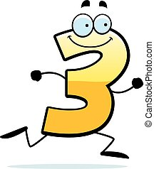 A cartoon illustration of a number three running and smiling.