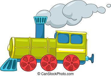Cartoon Illustration Train Isolated on White Background. Vector.