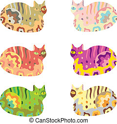 bright colorful vector cat illustration in catroon style for children