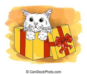 vector cat in box cute kitten