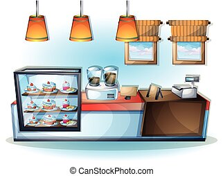 cartoon vector illustration interior cafe object