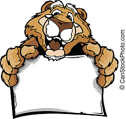 Cartoon Vector Image of a Happy Cute Cougar Mascot Holding Sign