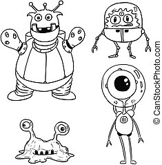 Cartoon Vector Set 02 of Friendly Aliens Astronauts