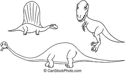 Cartoon Vector Set 03 of Ancient Dinosaur Monsters
