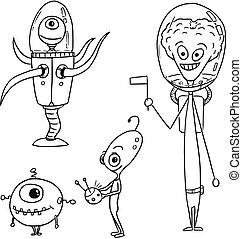 Cartoon Vector Set 03 of Friendly Aliens Astronauts