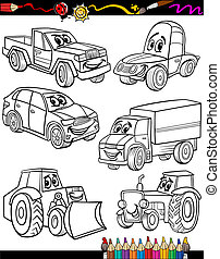 Coloring Book or Page Cartoon Illustration of Black and White Cars or Trucks Vehicles and Machines Comic Characters Set for Children Education