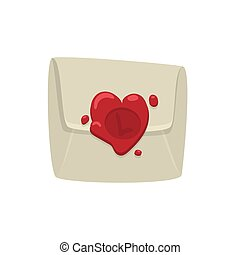 Cartoon white envelope with red wax seal in heart shape isolated on white background.