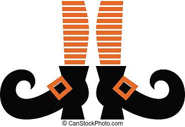 Orange striped witch legs. Vector cartoon Illustration