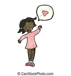 cartoon woman with love heart