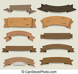 Illustration of a set of cartoon wooden award ribbon and texas ranch banners, for agriculture and farm seal and certificates