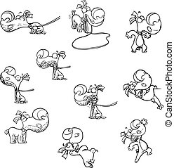 cartoonn puppy with different emotions
