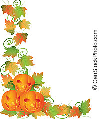 Happy Halloween Trio of Carved Pumpkins with Leaves and Twine Border Illustration