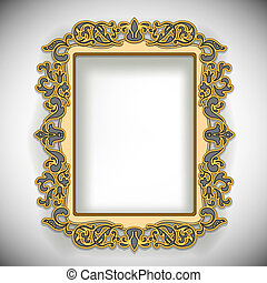 Carved Wooden Frame isolated on white. Vector Illustration. EPS10 opacity