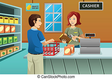 A vector illustration of cashier working in the grocery store serving a customer