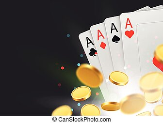 Casino Poker Cards Background with coins and Copy Space. Big win concept.
