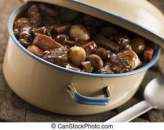 Casserole Dish With Beef Bourguignonne