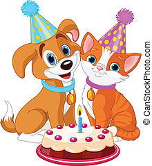 Cat and Dog celebrating