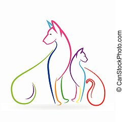 Cat and dog logo colorful pets