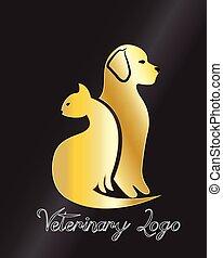 Cat and dog logo gold card