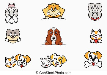 Cat and Dog Logo Icon Vector Designs