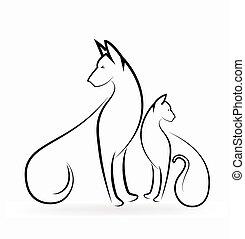 Cat and dog logo
