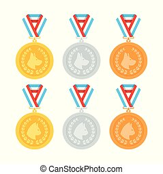 Cat and dog medals vector set in flat style