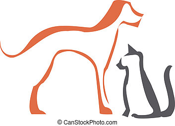 Simple stylized cat and dog outlines