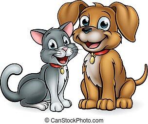 Cat and dog pet mascot cartoon characters
