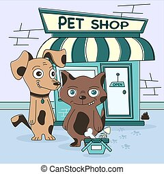 Cat and dog shopping