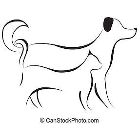 Cat and dog friend logo sketch vector illustration. Element for design.