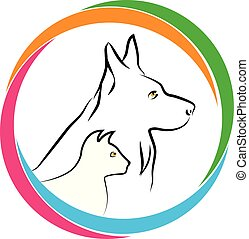 Cat and dog together logo icon
