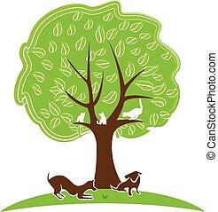 Cat and dog tree logo