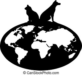 cat and dog vector on white background