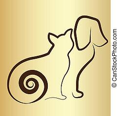 Cat and dog vintage logo