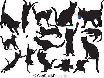 Cat and kitten vector silhouettes