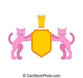Cat and Shield heraldic symbol. Pet for coat of arms. Vector illustration