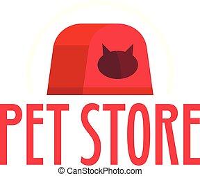 Cat box pet store logo, flat style