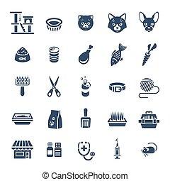 Cat care pet shop flat silhouettes icons
