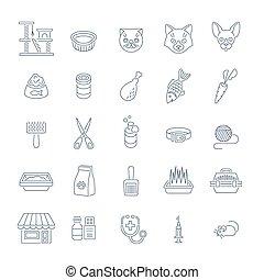 Cat care pet shop flat thin line icons