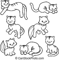 Cat collection. Vector black and white coloring page