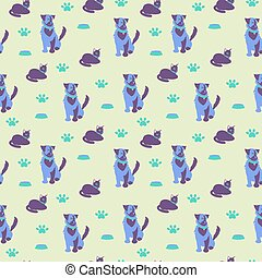 Cat, dog and foot prints seamles pattern Vector illustration