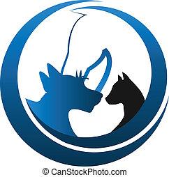Cat dog and horse logo