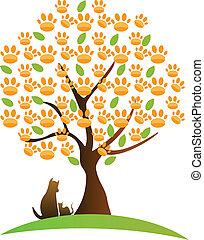 Cat , dog and tree logo
