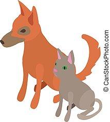 Cat dog icon, isometric 3d style